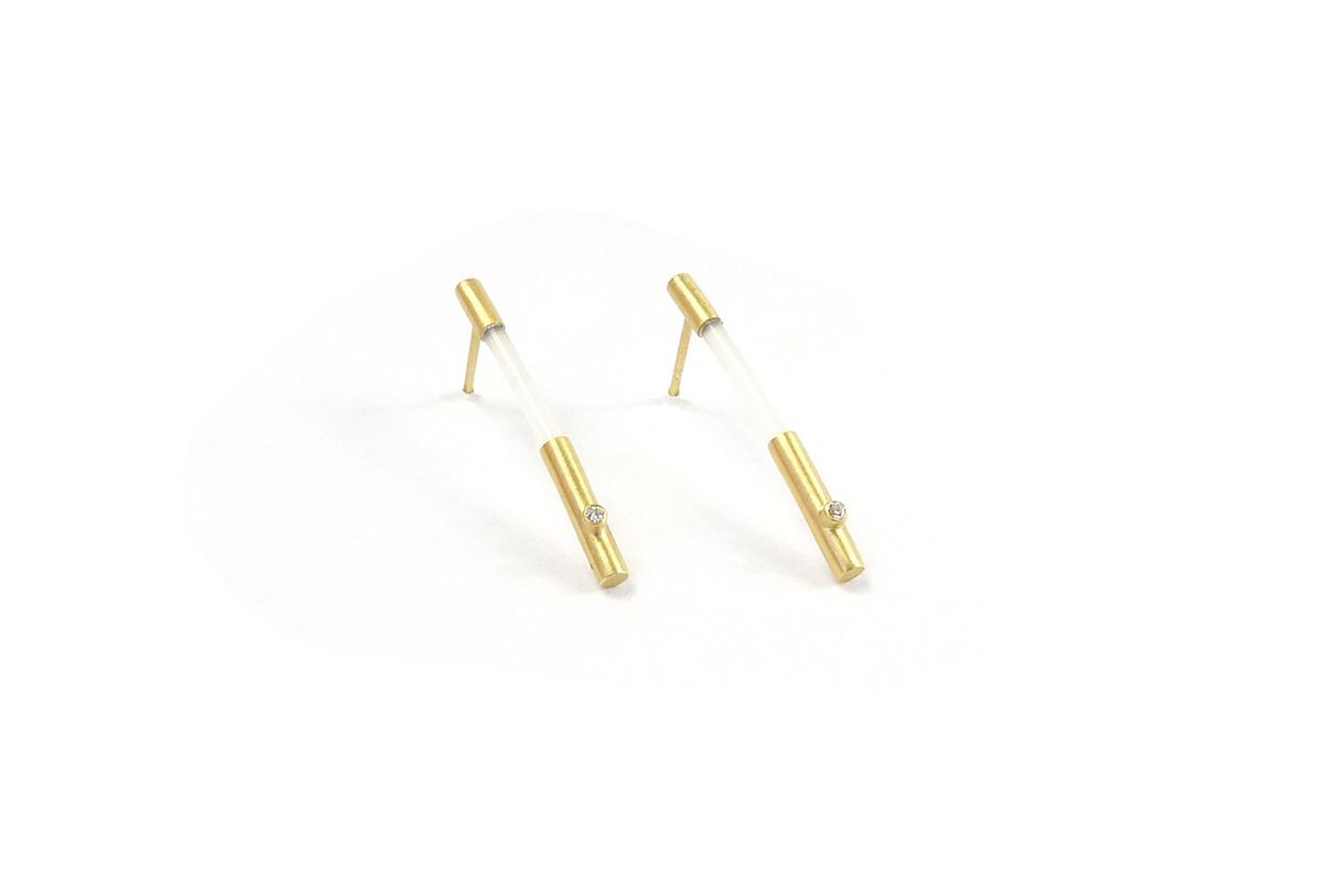 Earring_Tube.Nylon_Diamond.2x0.015ct_YG.750°°°