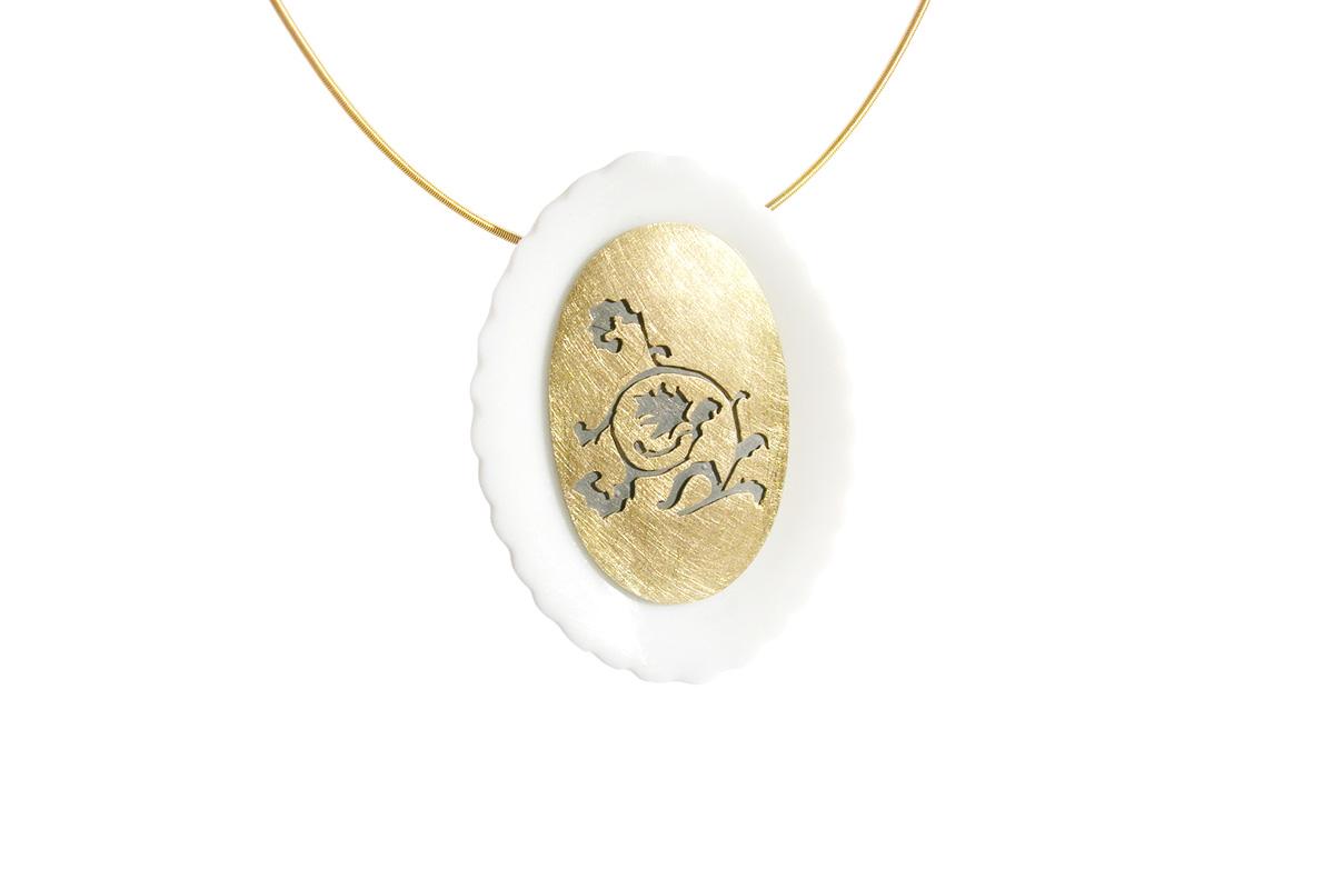 Pendant_Barock_Porcelain_YG.750°°°_Silver.925°°°